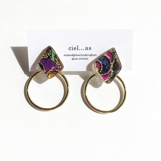 stained glass fabric ribbon/14kgf ピアス/イヤリング