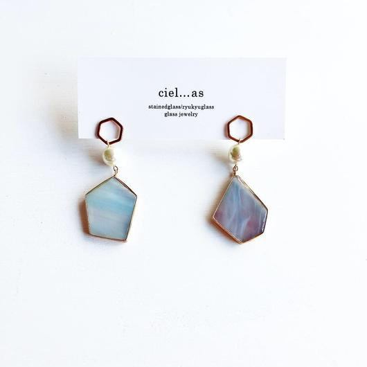 stained glass hexagon/ピアス