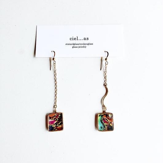 stained glass yurari/fabric ribbon/14kgf ピアス/イヤリング