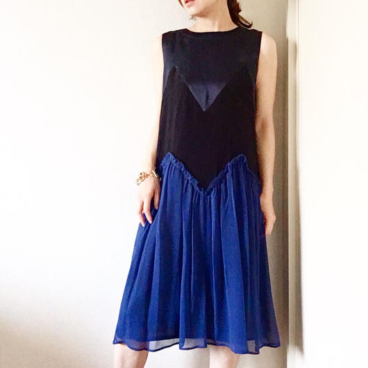 BOUTIQUE silk crepe dress TE-3200   /   NAVYX BLACK