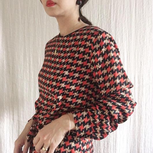 BOUTIQUE  houndstooth print I-LINE dress/ RED