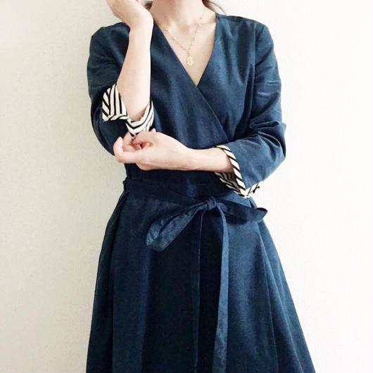 BOUTIQUE  corduroy wrap  dress TE-3501 /  BLUE NAVY CORDUROY