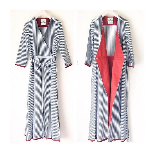 BOUTIQUE stripe wrap dress TE-3501   NAVY X WHITE