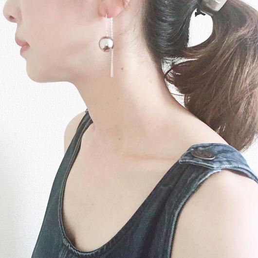 BOUTIQUE  ornament chain  pierces earrings  TZ-3402  SILVER