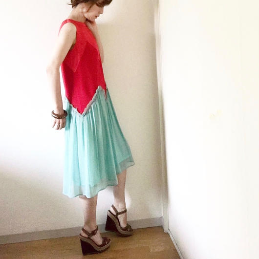 BOUTIQUE silk crepe dress TE-3200   /   GREENXRED