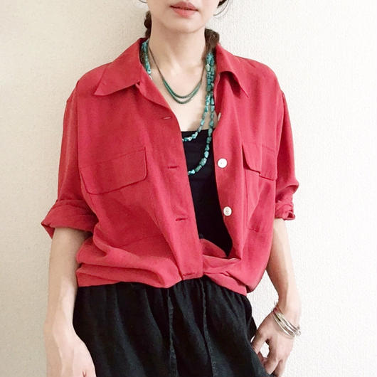 VINTAGE  silk  open collored shirts  RED