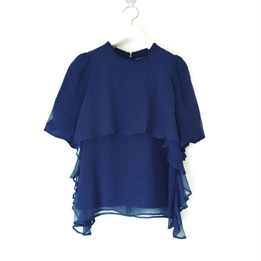 BOUTIQUE  silk blanket stitck tops  TG-2303/NAVY
