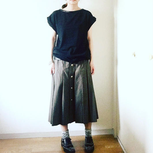 VACANCES    leather piping long  T-shirts TM-2501/BLACK(杢)