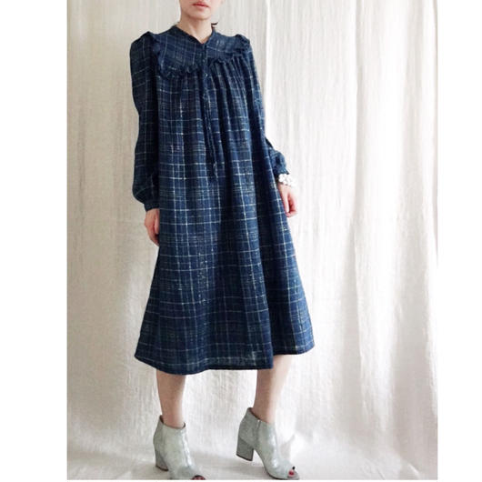 VINTAGE  rame check dress   ROYAL NAVY  X GOLD