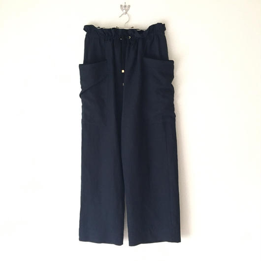 BOUTIQUE linen canvas pants TS-3300  DARK NAVY《素敵なあの人の大人服》掲載