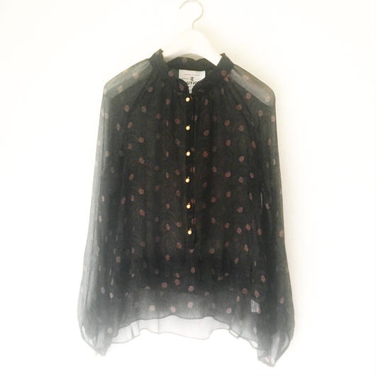 BOUTIQUE silk crepe incense print tops  TG-2000 / BLACK
