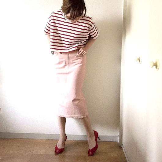 VACANCES colordenim fringe skirt   TC-2604/PINK