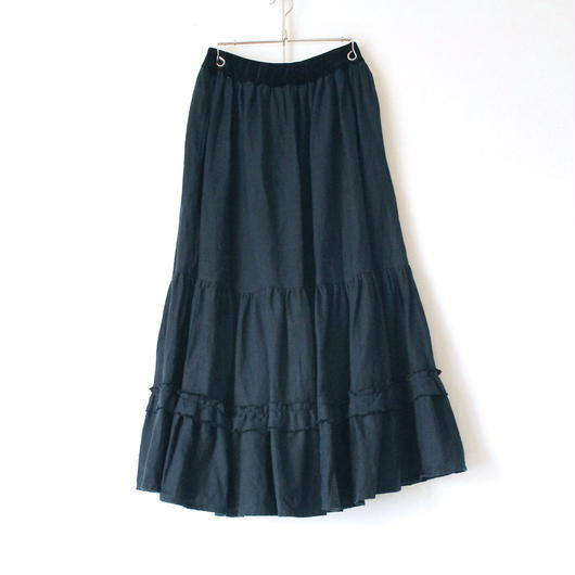 BOUTIQUE linen canvas skirt    TC-3300 DARK NAVY