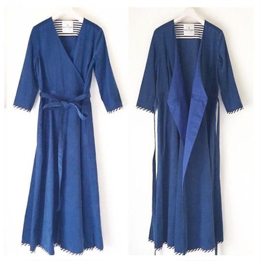 終了しました【予約販売】BOUTIQUE  cotton dress TE-3501   BLUE NAVY CORDUROY