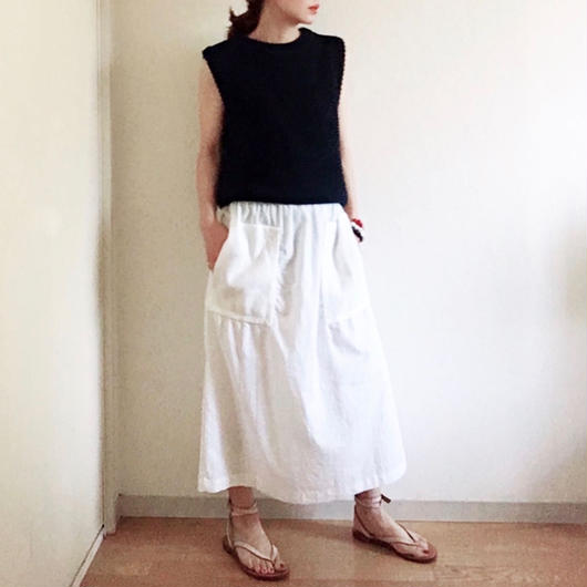 VINTAGE  thermal pocket skirt   WHITE