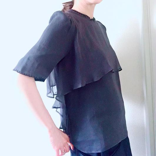 BOUTIQUE  silk blanket stitck tops  TG-2303/NAVY