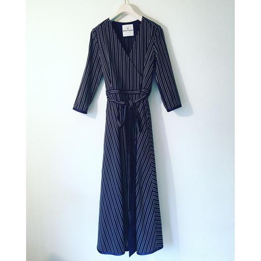 BOUTIQUE stripe cotton dress TE-3401    BLACK X WHITE