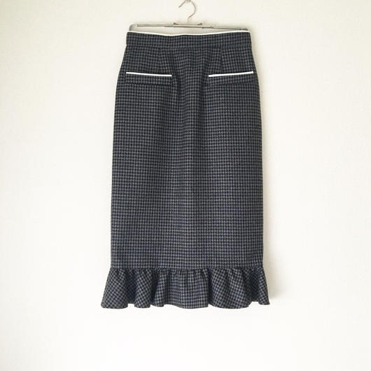BOUTIQUE   highland wool skirt/GRAY X NAVY