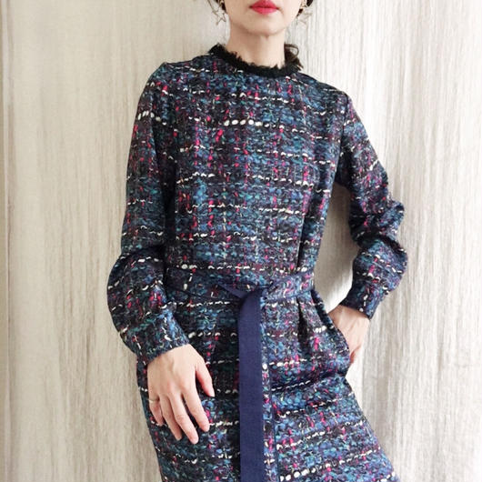 BOUTIQUE tweed print  I-LINE dress
