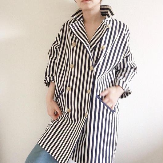 BOUTIQUE stripe coat TO-2800    OFF WHITE X NAVY