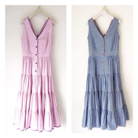 終了しました《予約販売》BOUTIQUE stripe cptton  back ribbon dress TE-3500