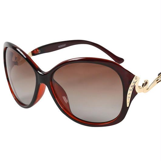 レディース サングラス バタフライ UV400 紫外線 カット率99.9 % UVカット 偏光レンズ (5ダークブラウン)