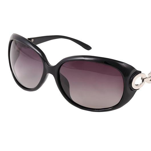 レディース サングラス バタフライ UV400 紫外線 カット率99.9 % UVカット 偏光レンズ (2ブラック)