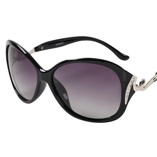 レディース サングラス バタフライ UV400 紫外線 カット率99.9 % UVカット 偏光レンズ (5ブラック)