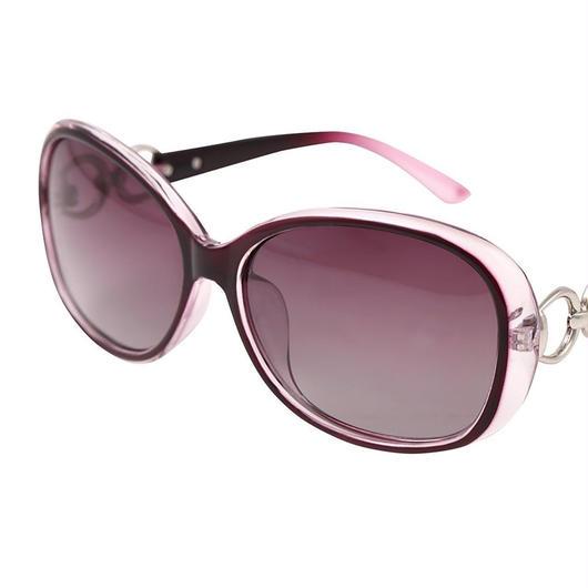 レディース サングラス バタフライ UV400 紫外線 カット率99.9 % UVカット 偏光レンズ (3パープル)