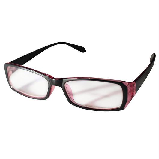 パソコンメガネ クリアサングラス ブルーライト カット サングラス ケース&眼鏡ふき 3点セット  (1ピンク)