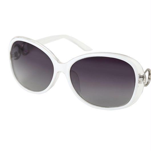 レディース サングラス バタフライ UV400 紫外線 カット率99.9 % UVカット 偏光レンズ (3ホワイト)