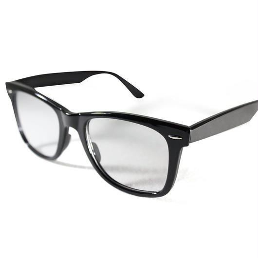パソコンメガネ クリアサングラス ブルーライト カット サングラス ケース&眼鏡ふき 3点セット  (2ウェリントン/小ライトブラック)