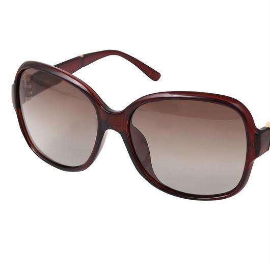 レディース サングラス バタフライ UV400 紫外線 カット率99.9 % UVカット 偏光レンズ (4ダークブラウン)