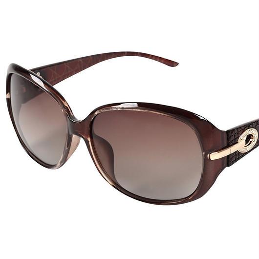 レディース サングラス バタフライ UV400 紫外線 カット率99.9 % UVカット 偏光レンズ (7ダークブラウン)