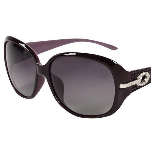 レディース サングラス バタフライ UV400 紫外線 カット率99.9 % UVカット 偏光レンズ (7パープル)