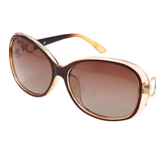 レディース サングラス バタフライ UV400 紫外線 カット率99.9 % UVカット 偏光レンズ (3ブラウン)