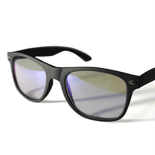 パソコンメガネ クリアサングラス ブルーライト カット サングラス ケース&眼鏡ふき 3点セット  (2ウェリントン/小ダークブラック)