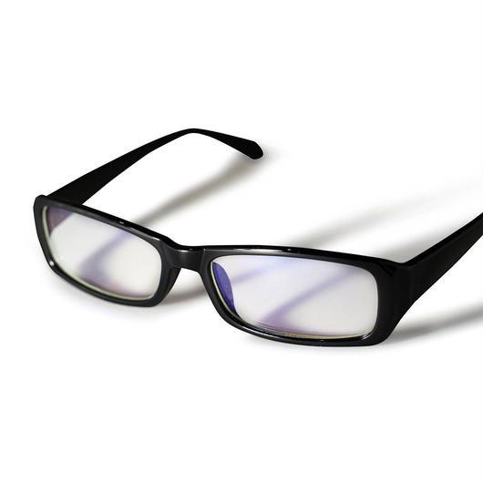 パソコンメガネ クリアサングラス ブルーライト カット サングラス ケース&眼鏡ふき 3点セット  (1ブラック)