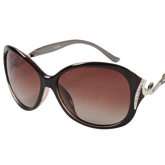 レディース サングラス バタフライ UV400 紫外線 カット率99.9 % UVカット 偏光レンズ (5コーヒー)