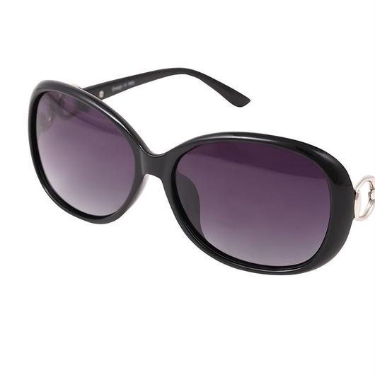 レディース サングラス バタフライ UV400 紫外線 カット率99.9 % UVカット 偏光レンズ (3ブラック)
