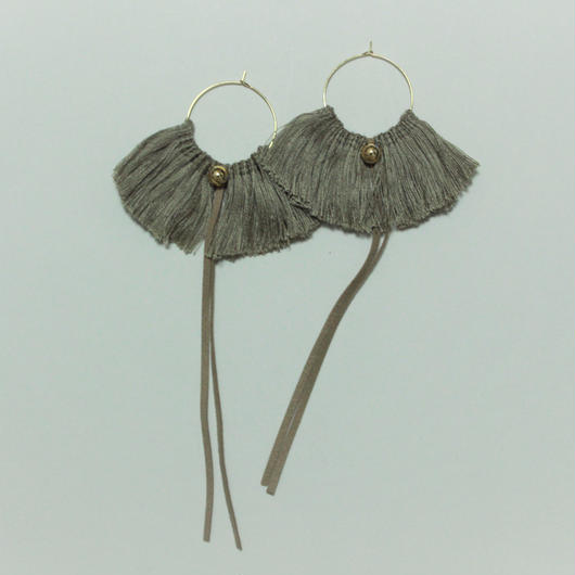 fringe hoop ear accessory #beige