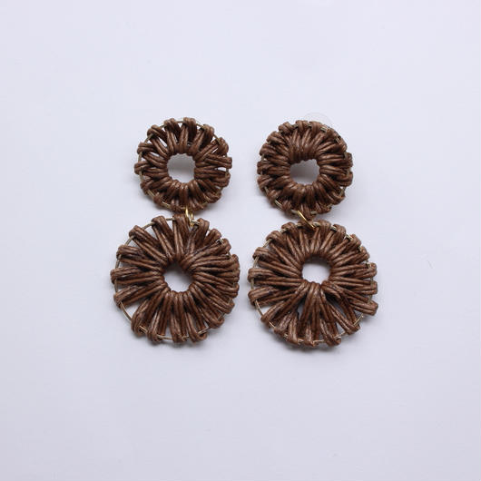 2連 circle rattan pierce #darkbrown
