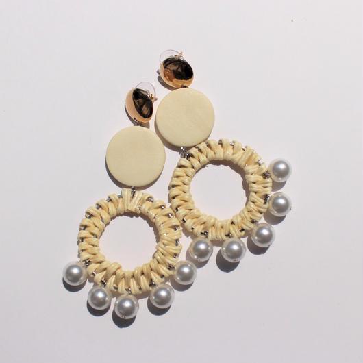 pearl rattan pierce #white beige