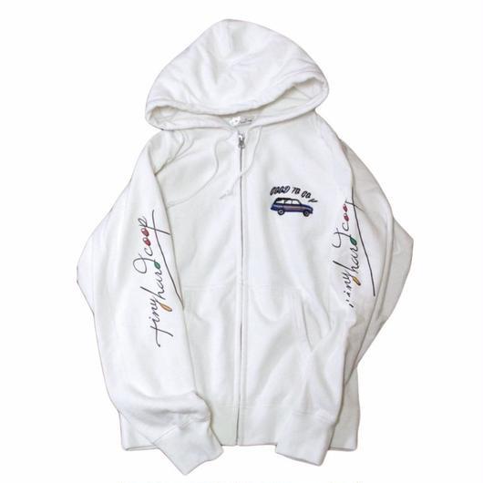 GOOD TRIP-zip hoodie white