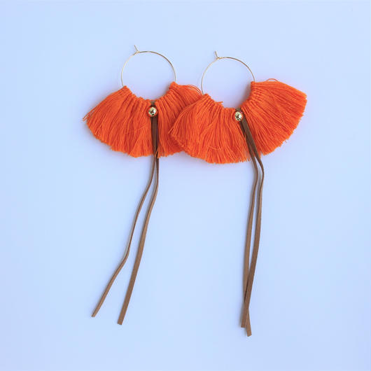 fringe hoop ear accessory #orange