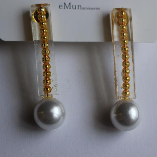 clear stick pearl pierce  ゴールド