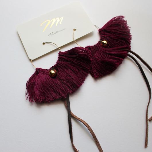 fringe hoop ear accessory #winered