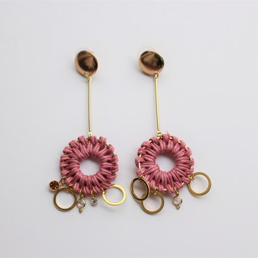 hanging rattan pierce #pink