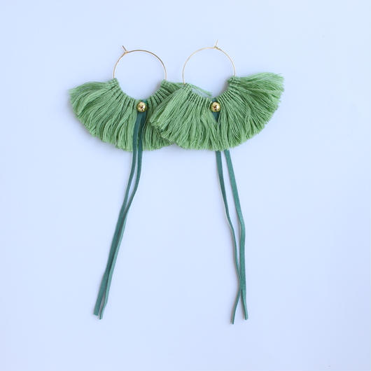 fringe hoop ear accessory #green