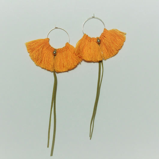 fringe hoop ear accessory #orange yellow